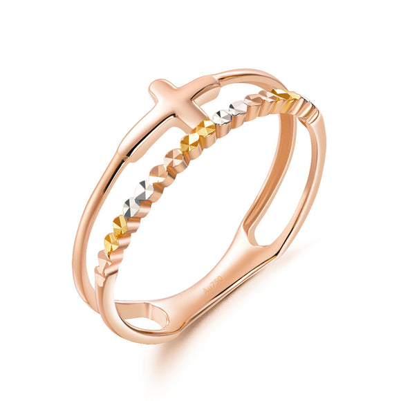 Solid 18K/750 Rose Gold Cross Ring