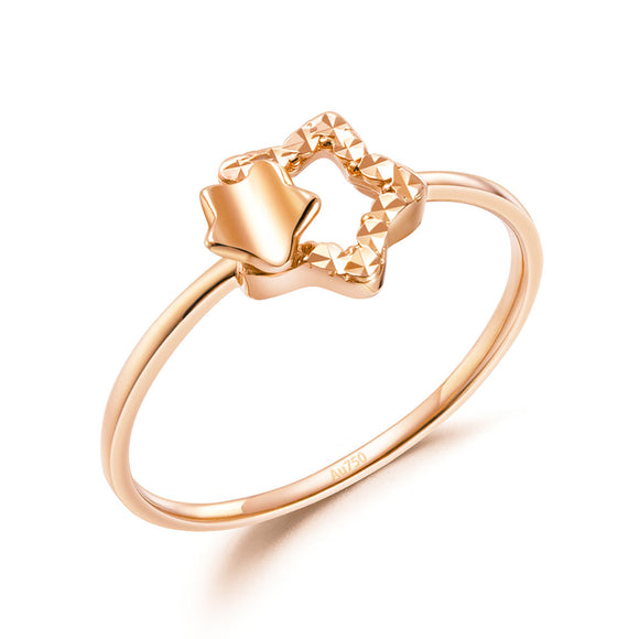 Solid 18K/750 Rose Gold Stars Ring