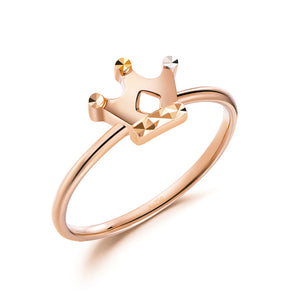 Solid 18K/750 Rose Gold Crown Ring