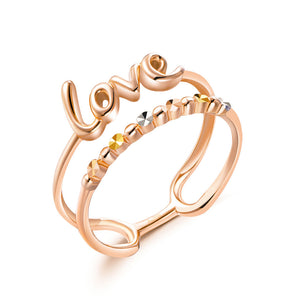 "Solid 18K/750 Rose Gold ""Love"" Double Band Ring"