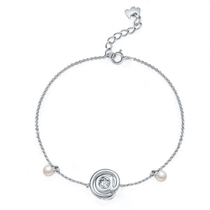Moissanite Diamond Fresh Water Pearls @ Dancing Stone Bracelet 925 Sterling Silver MFB8129
