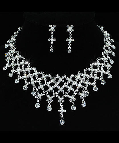 Bridal Wedding Party Quality Crystal Rhinestone Necklace Earrings Set XS1211