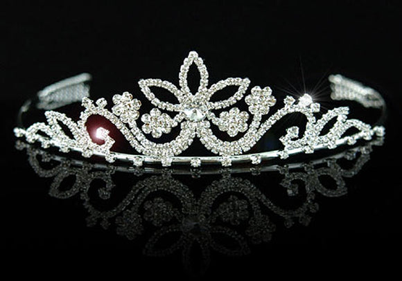 Bridal Flower Clear Crystal Rhinestone Tiara XT1027
