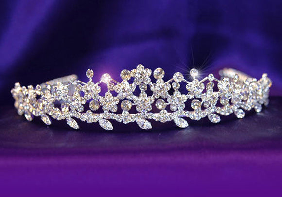 Bridal Wedding Flower Crystal Rhinestone Silver Plated Tiara XT1059