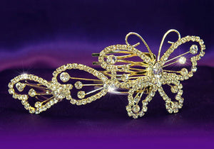 Bridal Wedding Butterfly Rhinestone Gold Plated Hair Comb XT1061