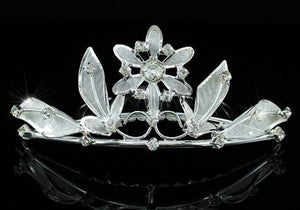 Bridal Flower Girl Crystal Silver Tiara Comb XT1074