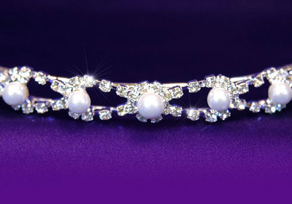 Bridal Wedding Crystal Faux Pearl Headband Tiara XT1077