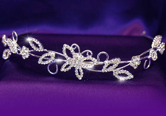Bridal Wedding Crystal Butterfly Headband Tiara XT1078