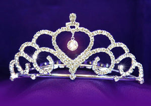 Bridal Wedding Heart Rhinestone Tiara Comb XT1084
