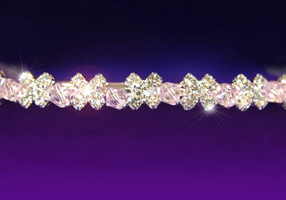 Bridal Wedding Pink Crystal Headband Tiara XT1089