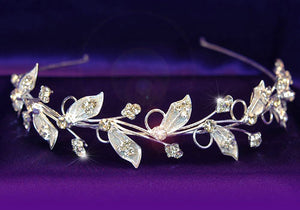 Bridal Wedding Leaf Leaves Crystal Headband Tiara XT1091
