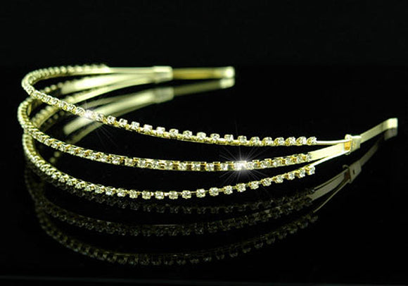 Bridal Wedding 3 Row Rhinestone Gold Headband Tiara XT1117