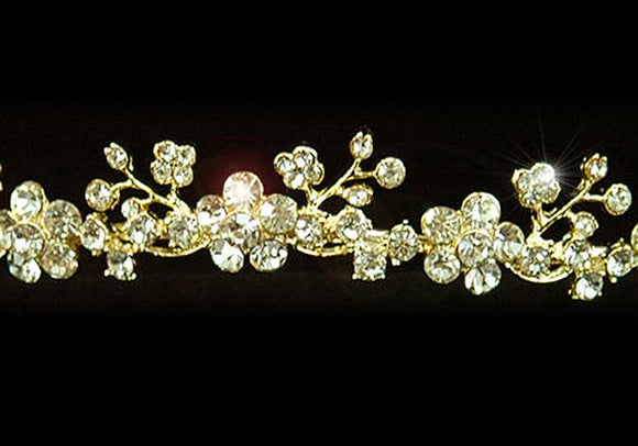 Clear Crystal Rhinestone Flowers Gold Plated Tiara XT1146