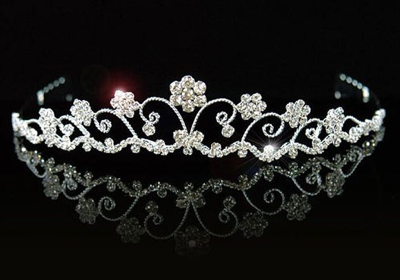 Bridal Flowers Clear Crystal Rhinestone Tiara XT1153