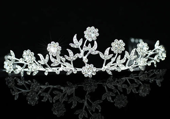 Bridal Wedding Sparkling Clear Crystal Flower Tiara XT1187