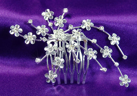 Bridal Wedding Flower Crystal Side / Back Hair Comb XT1192