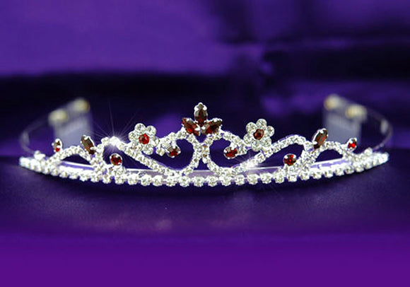 Bridal Dark Red Crystal Rhinestone Tiara Comb XT1199