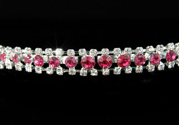 Bridal 3 Row Pink Clear Crystal Headband Tiara XT1204