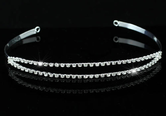 Bridal Wedding Prom 2 Row Crystal Rhinestone Headband Tiara XT1212