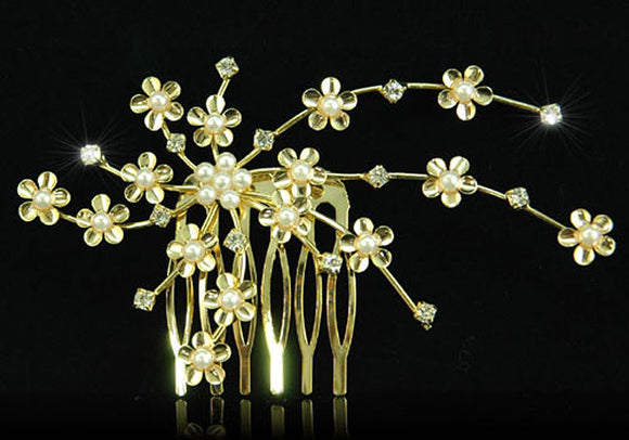 Bridal Wedding Crystal Faux Pearl Gold Plated Hair Comb XT1221