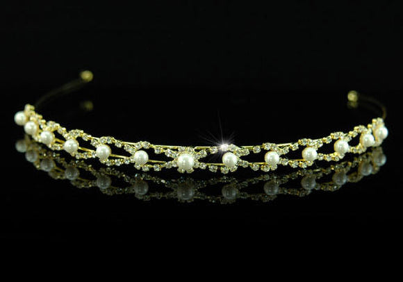 Clear Crystal Faux Pearl Gold Plated Headband Tiara XT1223