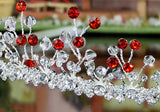 Bridal Wedding Handmade Red Silver Plated Tiara XT1241