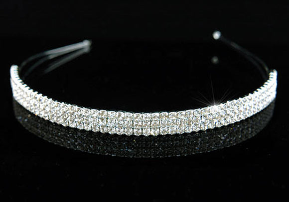 Bridal 3 Row Clear Crystal Headband Tiara XT1258