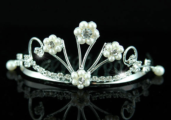 Bridal Flower Girl Crystal Faux Pearl Mini Tiara Comb XT1271
