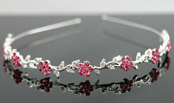 Bridal Flower Pink Crystal Headband Tiara XT1284