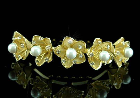 Bride / Flower Girl Crystal Pearl Gold Plated Tiara Comb XT1316