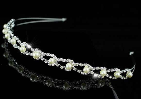 Bridal Wedding Ivory / Cream Pearl Headband Tiara XT1331