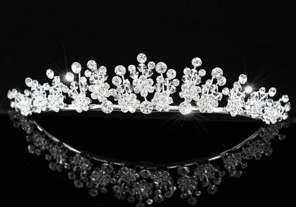 Created Diamond Wedding Silver Plated Tiara XT1333