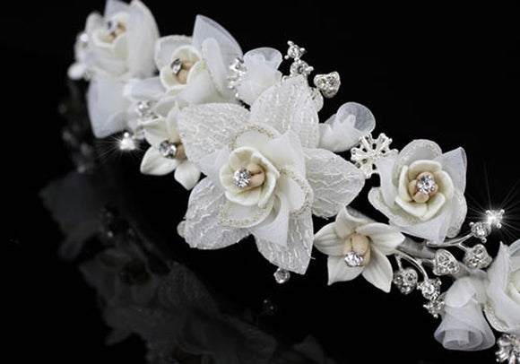 Handmade Wedding White Flower Satin Crystals Tiara XT1336