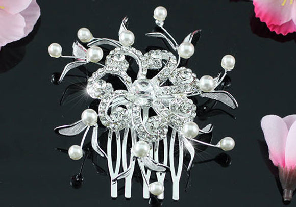 Wedding Flower Crystal Pearl Hair Comb XT1343