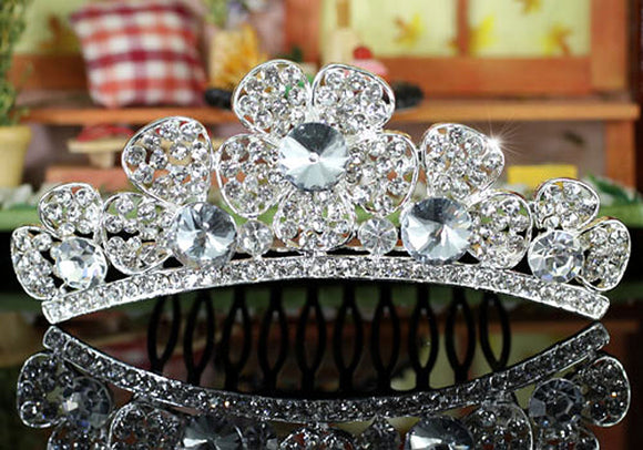 Bridal Flower Girl Crystal Mini Tiara Comb XT1361