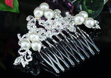 Wedding  Crystal White Pearl Hair Comb XT1362