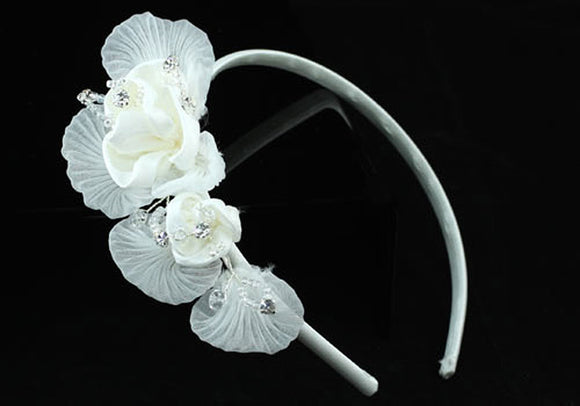 Handmade Wedding White Flower Satin Crystals Headband Tiara XT1365