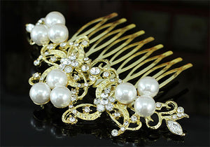 Wedding  Crystal White Pearl Gold Hair Comb XT1368