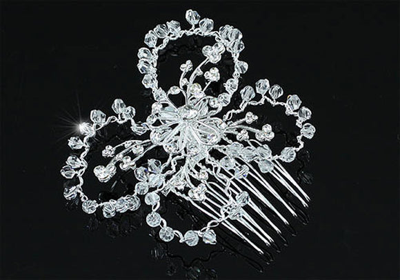 Bridal Handmade Butterfly Crystal Beads Hair Comb XT1370