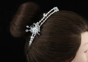 Bridal Handmade Butterfly High Quality Clear Crystal Silver Plated Tiara XT1383