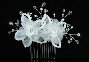 Bridal Handmade White Flower Satin Crystal Hair Comb XT1384
