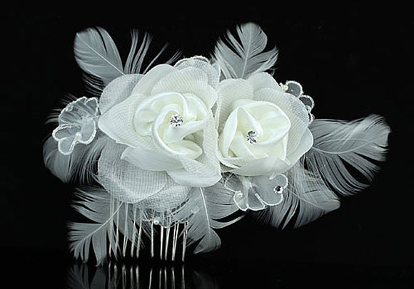 Bridal Fascinator Ivory Satin Feather Rose Handmade Hair Comb XT1385