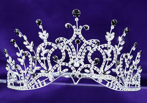 "Bridal Sparkling Pageant Beauty Contest Black Crystal 3.5"" (9 cm) Tall Tiara XT1389"