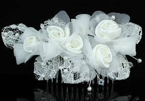 Bridal Handmade White Rose Satin Crystal Hair Comb XT1391