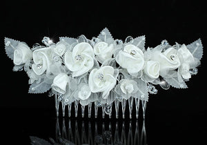 Bridal Handmade White Rose Fabric Crystal Hair Comb XT1394
