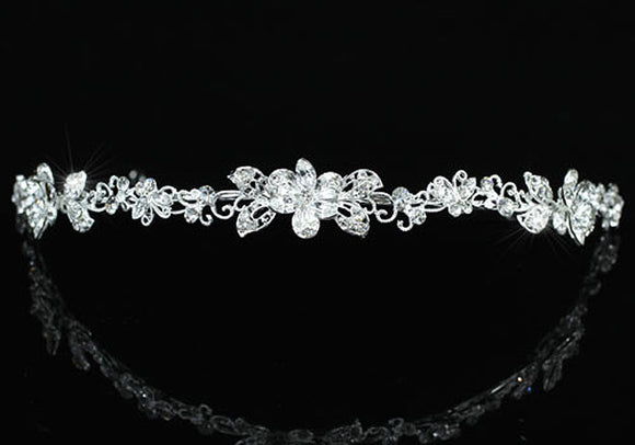 Bridal Wedding Crystal Butterfly Flower Headband Tiara XT1402