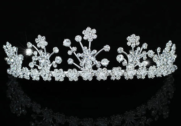 Bridal Wedding Sparkling Flower Crystal Tiara XT1404