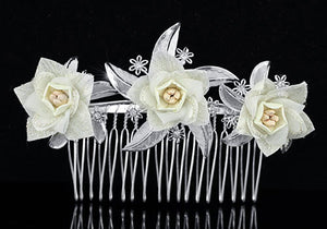 Bridal Ivory Flower Satin Handmade Hair Comb XT1419