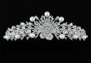 High Quality Bridal Wedding Pageant Prom Flower Rose Faux Pearls Tiara XT1450