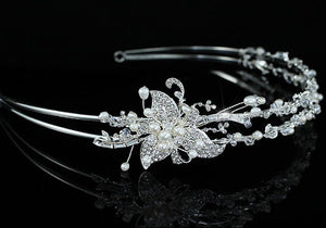 Bridal Ivory Pearl High Quality Clear Crystal Silver Plated Tiara XT1460